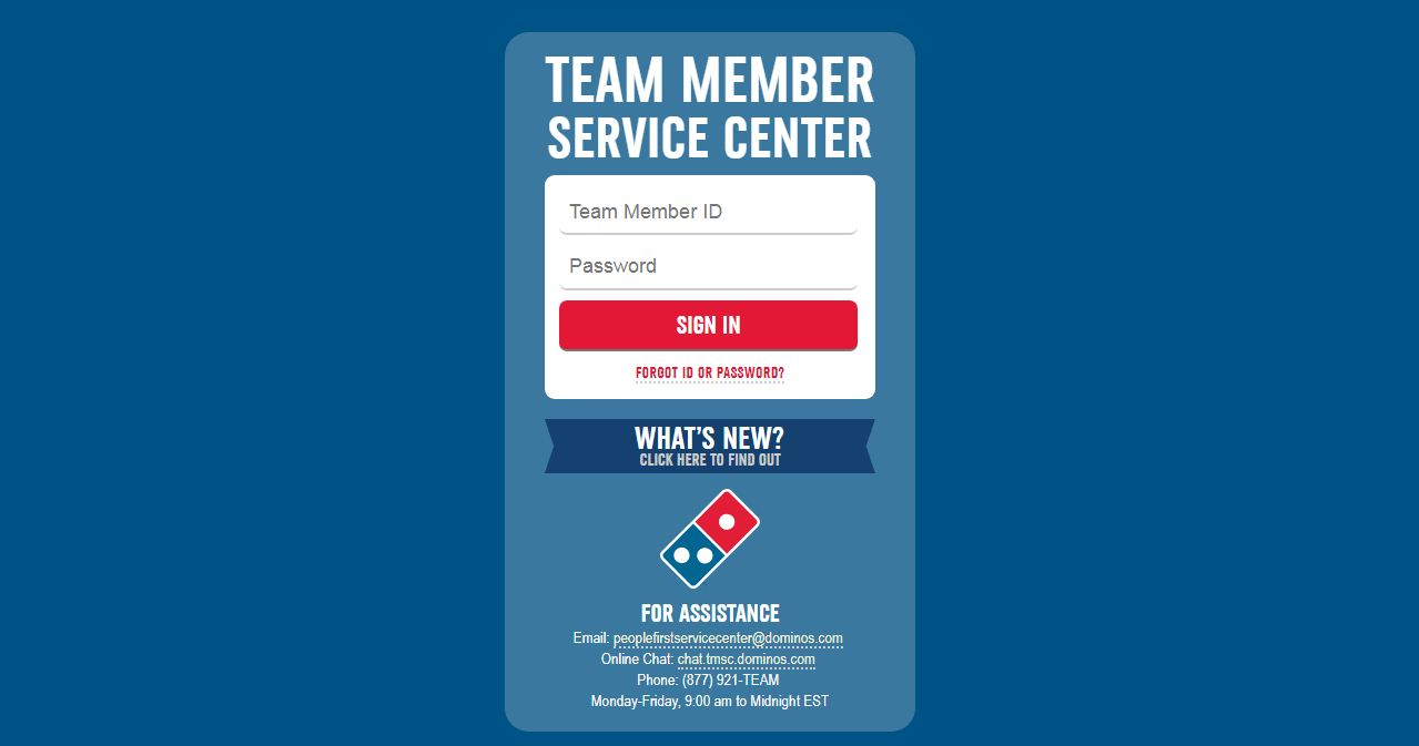 TMSC Dominos Login