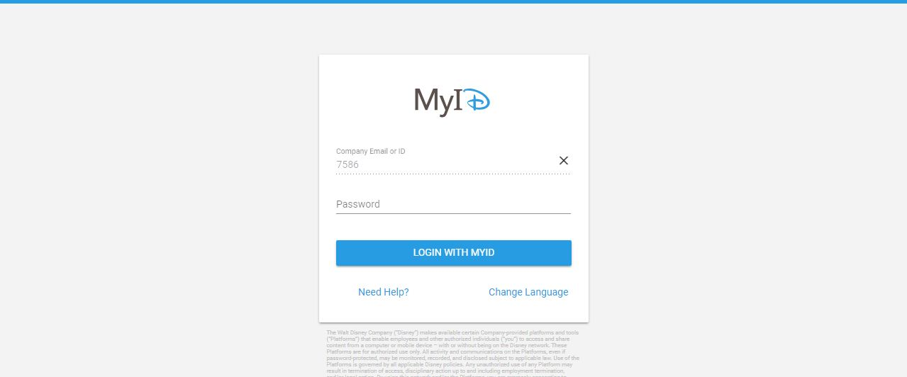 myID Disney Employee Login