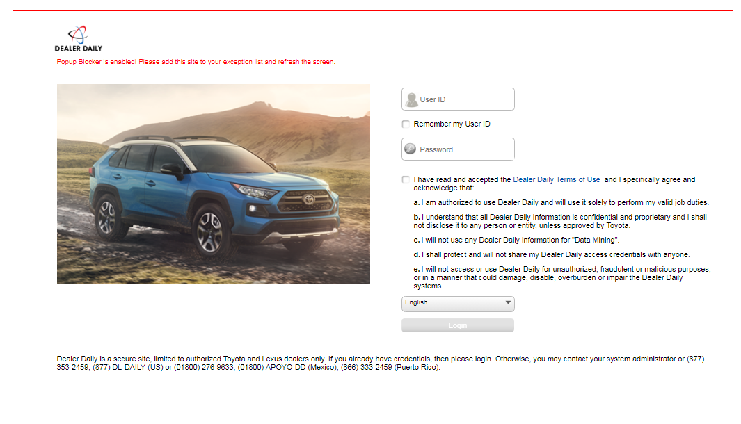 Dealer Daily Toyota Login
